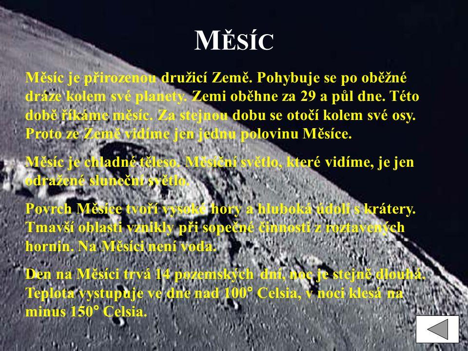 M ĚSÍC Měsíc je přirozenou družicí Země. Pohybuje se po oběžné dráze kolem své planety. Zemi oběhne za 29 a půl dne. Této době říkáme měsíc. Za stejno