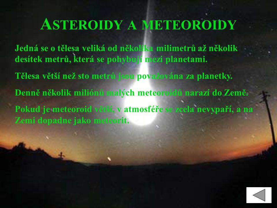 A STEROIDY A METEOROIDY Jedná se o tělesa veliká od několika milimetrů až několik desítek metrů, která se pohybují mezi planetami. Tělesa větší než st