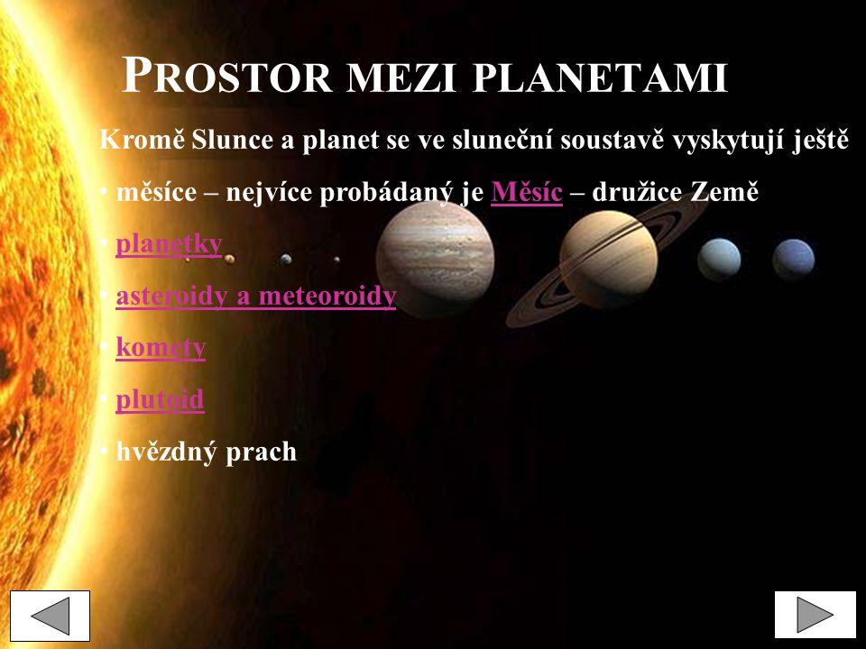 P ROSTOR MEZI PLANETAMI Kromě Slunce a planet se ve sluneční soustavě vyskytují ještě měsíce – nejvíce probádaný je Měsíc – družice ZeměMěsíc planetky