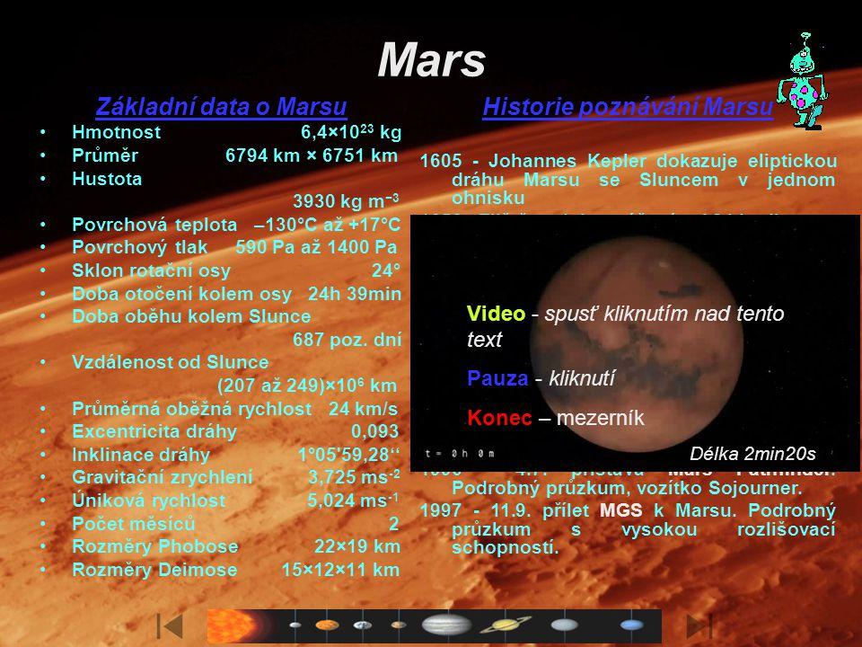 Život na Marsu Mars, známý jako Rudá planeta, je v pořadí čtvrtým tělesem Sluneční soustavy. Jeho význačnost spočívá v tom, že v minulosti, ale i dnes