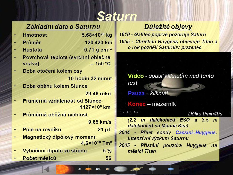Charakteristika Saturn patří k obřím planetám sluneční soustavy. Oběhne Slunce za 30 pozemských let, ale kolem vlastní osy se otočí za pouhých 10 hodi