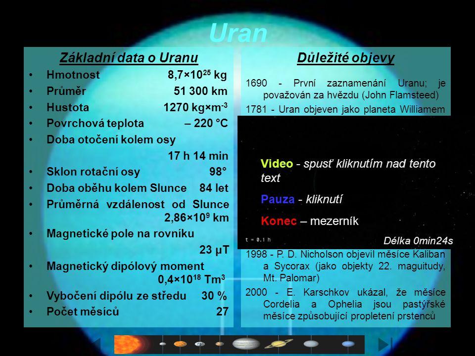 Charakteristika Sedmá planeta sluneční soustavy je další z plynných obrů s velmi nízkou (−220 °C = 53 K) teplotou. Kromě vodíku a helia obsahuje atmos