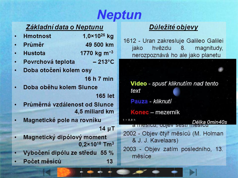 Charakteristika Neptun je téměř stejně velký jako Uran, ale přesto, že je mnohem dále od Slunce, jeho teplota je o něco vyšší (–213 °C). Neptun má v n