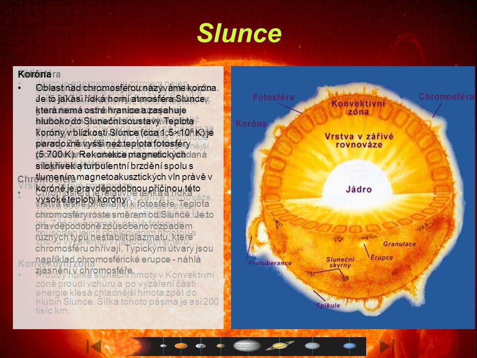 Jupiter Základní data o Jupiteru Hmotnost 1,9×10 27 kg Průměr 143 760 km Hustota 1,31 g cm −3 Povrchová teplota − 160 °C (svrchní oblačná vrstva) Doba otočení kolem osy 9 hodin 55 minut Doba oběhu kolem Slunce 11,86 roku Průměrná vzdálenost od Slunce 778×10 6 km Průměrná oběžná rychlost 13 km/s Albedo 0,73 Pole na rovníku 430 μT Dipólový moment 160×10 18 Tm 3 Vybočení dipólu ze středu 13 % Počet měsíců 63 Důležité objevy 1610 - Galileo pozoruje Jupiter a jeho měsíce dalekohledem 1675 - První přesná měření rychlosti světla pomocí určení času zákrytů Jupiterových měsíců (Ole Roemer) 1955 - Objev rádiových vln z Jupiteru (Bernard Burke, Kenneth Franklin) 1973 - Průlet sond Pioneer 1979 - Průzkum planety sondami Voyager; zjištěna rotace Velké červené skvrny; objevy dalších Jupiterových prstenců a polární záře 1994 - Srážka komety SL9 s Jupiterem 1995-2003 - Podrobný průzkum měsíců sondou Galileo 2000-2003 - Cca 30 nových měsíců z Havajských ostrovů.