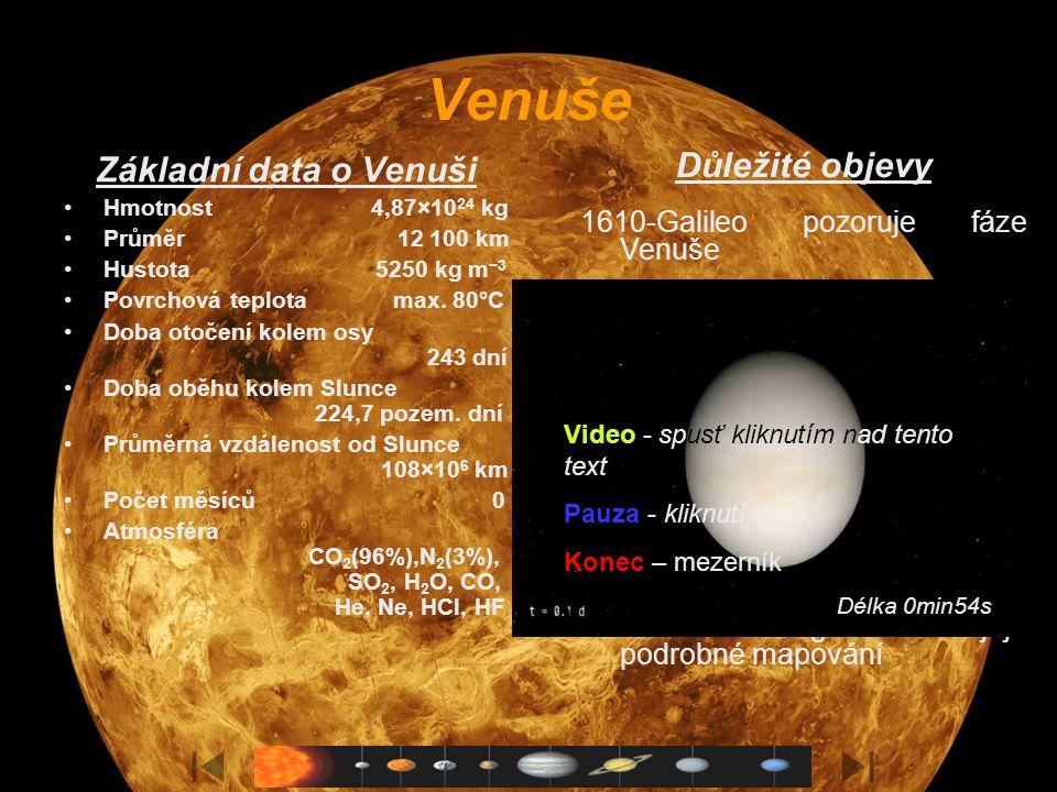 Venuše Základní data o Venuši Hmotnost 4,87×10 24 kg Průměr 12 100 km Hustota 5250 kg m −3 Povrchová teplota max.