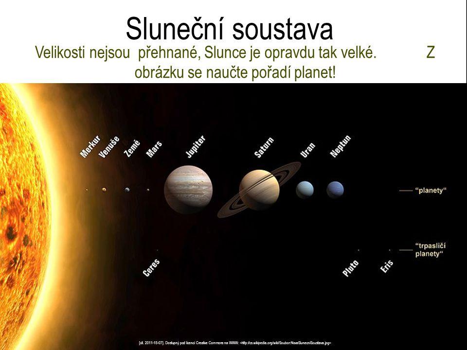Sluneční soustava Velikosti nejsou přehnané, Slunce je opravdu tak velké. Z obrázku se naučte pořadí planet! [cit. 2011-15-07]. Dostupný pod licencí C