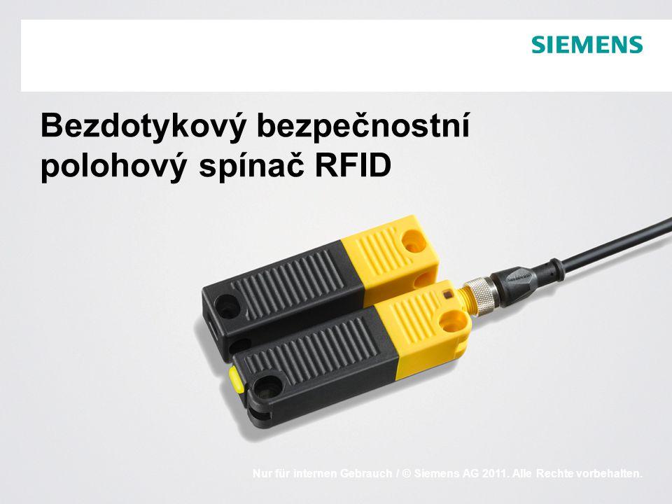 Industry Sector / I IA CEStrana 22011-07RFID, SIRIUS 3SE63 Porovnání principů elektromechanický vs elektronický princip Elektromechanický principElektronický princip  Stav sepnutí je snímán mechanicky  Kódování mechanickým ovladačem; jediné provedení ovladače, proto snadno manipulovatelný  Mechanické blokování ovladače (pružinou nebo elektromagnetem)*  Stav sepnutí je snímán bezdotykově např.