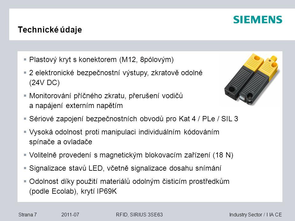 Industry Sector / I IA CEStrana 82011-07RFID, SIRIUS 3SE63 Dráhy spínání