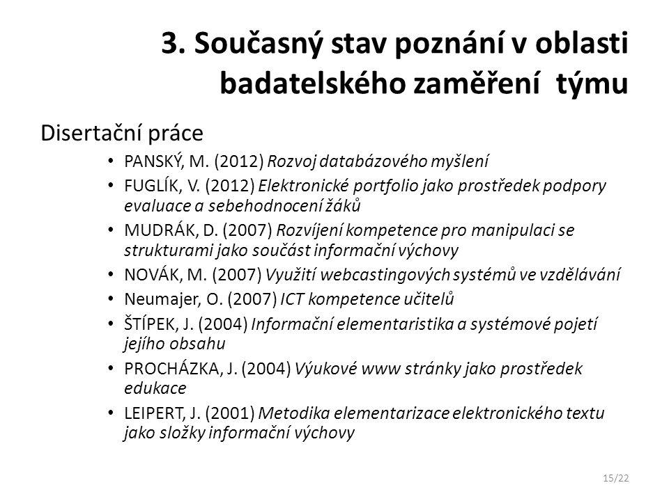 3. Současný stav poznání v oblasti badatelského zaměření týmu Disertační práce PANSKÝ, M. (2012) Rozvoj databázového myšlení FUGLÍK, V. (2012) Elektro