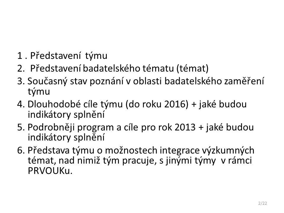 1.Představení týmu Pracovníci KITTV Doc. RNDr. Černochová, CSc.