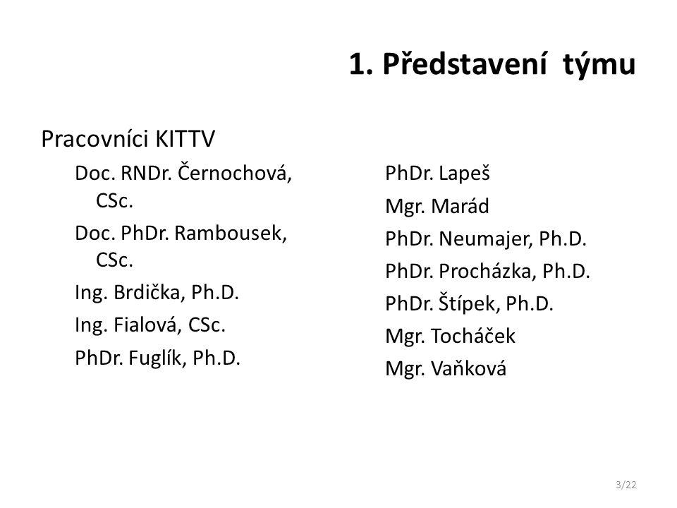 1. Představení týmu Pracovníci KITTV Doc. RNDr. Černochová, CSc. Doc. PhDr. Rambousek, CSc. Ing. Brdička, Ph.D. Ing. Fialová, CSc. PhDr. Fuglík, Ph.D.
