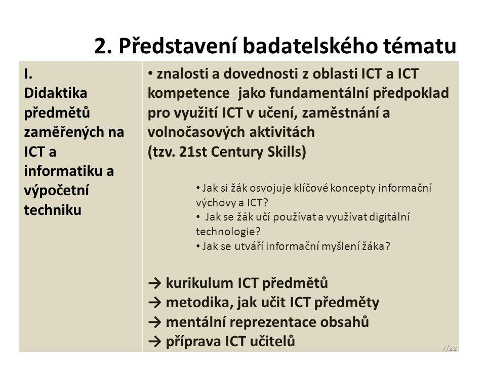 2. Představení badatelského tématu I. Didaktika předmětů zaměřených na ICT a informatiku a výpočetní techniku znalosti a dovednosti z oblasti ICT a IC