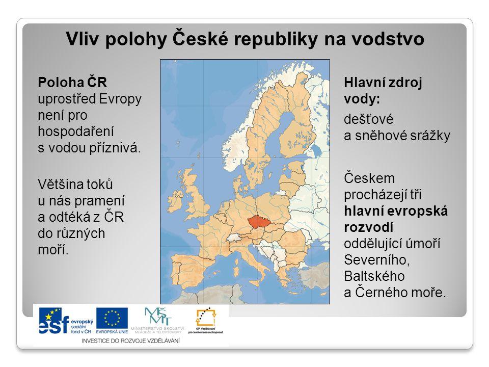 Vliv polohy České republiky na vodstvo Hlavní zdroj vody: dešťové a sněhové srážky Českem procházejí tři hlavní evropská rozvodí oddělující úmoří Seve
