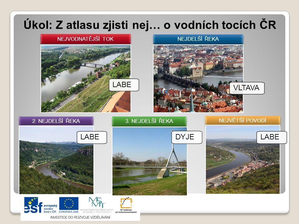 Vodní plochy umělé - přehradní nádrže LIPNO (Vltava) - rozlohou největší v ČR ORLÍK (Vltava) – objemem největší v ČR DALEŠICE (Jihlava) – nejhlubší v ČR (84 m) SLAPY (Vltava), VRANOV, NOVÉ MLÝNY (Dyje), NECHRANICE (Ohře) - rekreace ŠVIHOV (Želivka) – vodárenská nádrž, pokrývá 2/3 spotřeby pitné vody v ČR