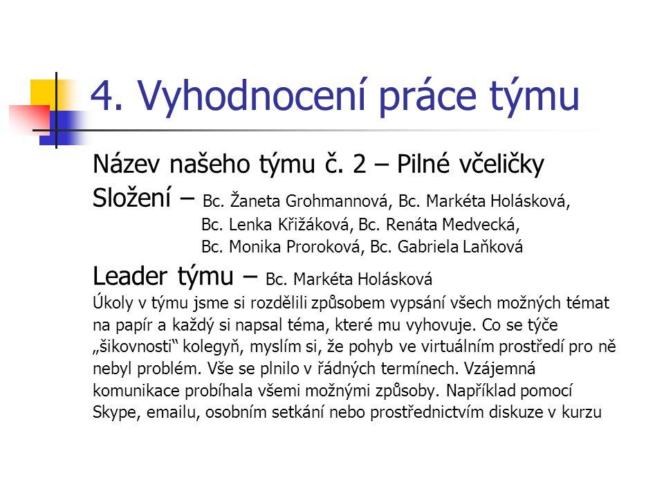 4. Vyhodnocení práce týmu Název našeho týmu č. 2 – Pilné včeličky Složení – Bc.