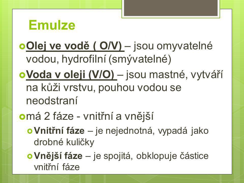 Emulze  Olej ve vodě ( O/V) – jsou omyvatelné vodou, hydrofilní (smývatelné)  Voda v oleji (V/O) – jsou mastné, vytváří na kůži vrstvu, pouhou vodou