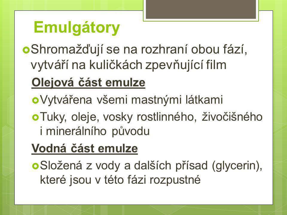 Emulgátory  Shromažďují se na rozhraní obou fází, vytváří na kuličkách zpevňující film Olejová část emulze  Vytvářena všemi mastnými látkami  Tuky,