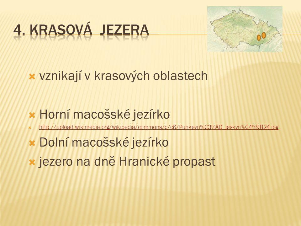  vznikají v krasových oblastech  Horní macošské jezírko  http://upload.wikimedia.org/wikipedia/commons/c/c6/Punkevn%C3%AD_jeskyn%C4%9B24.jpg http:/