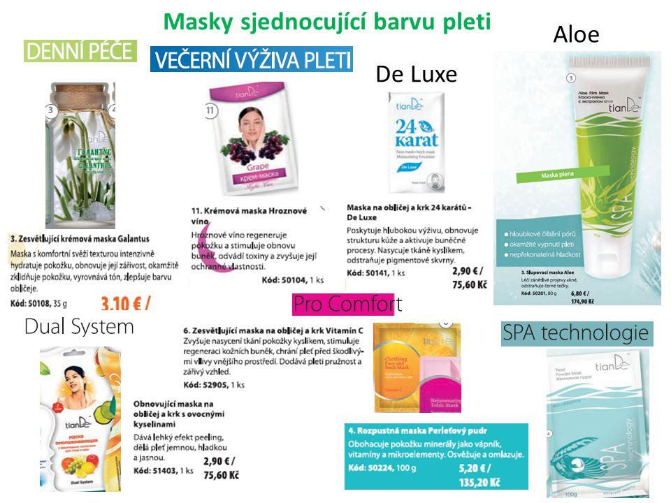 Masky sjednocující barvu pleti Aloe De Luxe