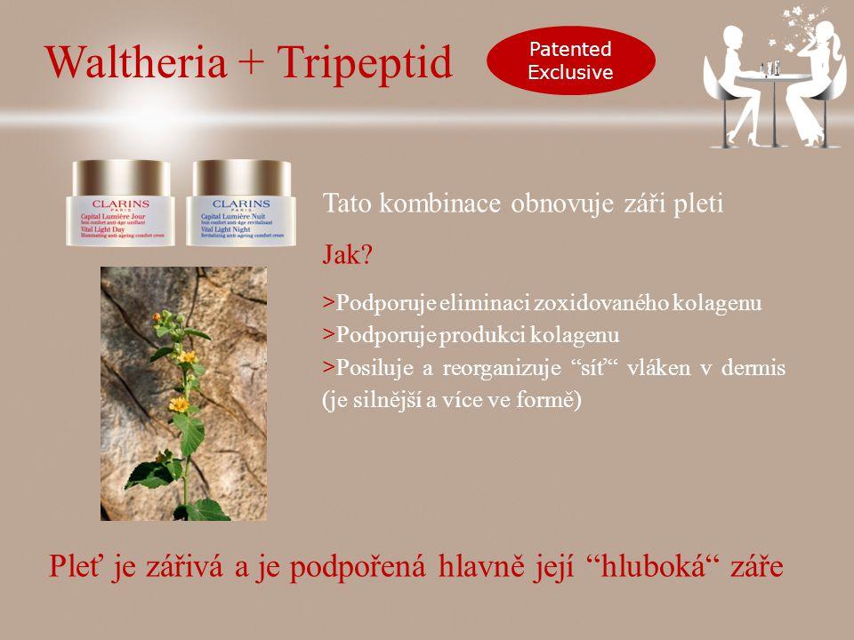 Waltheria + Tripeptid Patented Exclusive Tato kombinace obnovuje záři pleti Jak.