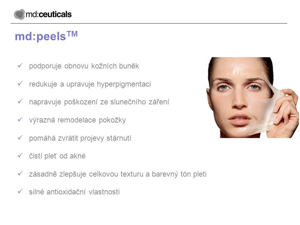 md:peels TM podporuje obnovu kožních buněk redukuje a upravuje hyperpigmentaci napravuje poškození ze slunečního záření výrazná remodelace pokožky pom