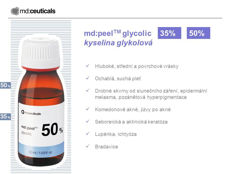 md:peel TM glycolic kyselina glykolová 35%50% Hluboké, střední a povrchové vrásky Ochablá, suchá pleť Drobné skvrny od slunečního záření, epidermální
