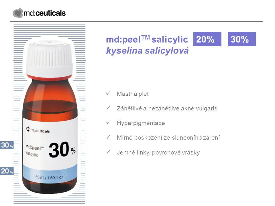 md:peel TM salicylic kyselina salicylová 20%30% Mastná pleť Zánětlivé a nezánětlivé akné vulgaris Hyperpigmentace Mírné poškození ze slunečního záření