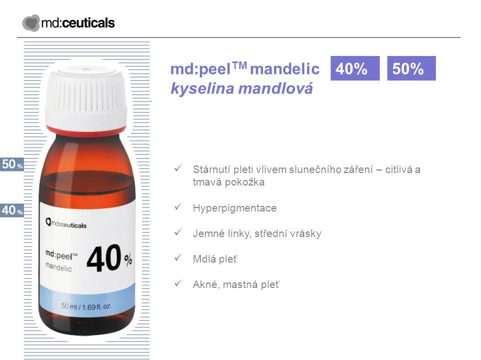 md:peel TM mandelic kyselina mandlová 40%50% Stárnutí pleti vlivem slunečního záření – citlivá a tmavá pokožka Hyperpigmentace Jemné linky, střední vr