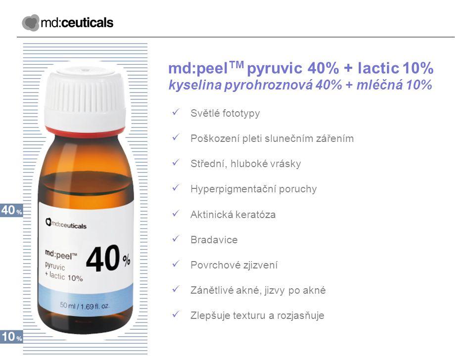 md:peel TM pyruvic 40% + lactic 10% kyselina pyrohroznová 40% + mléčná 10% Světlé fototypy Poškození pleti slunečním zářením Střední, hluboké vrásky H