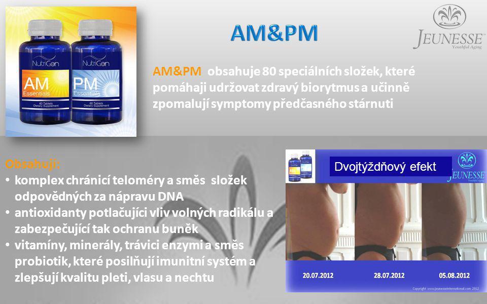 Obsahují: komplex chránicí teloméry a směs složek odpovědných za nápravu DNA antioxidanty potlačujíci vliv volných radikálu a zabezpečující tak ochranu buněk vitamíny, minerály, trávici enzymi a směs probiotik, které posilňují imunitní systém a zlepšují kvalitu pleti, vlasu a nechtu AM&PM obsahuje 80 speciálních složek, které pomáhaji udržovat zdravý biorytmus a učinně zpomalují symptomy předčasného stárnuti Dvojtýždňový efekt