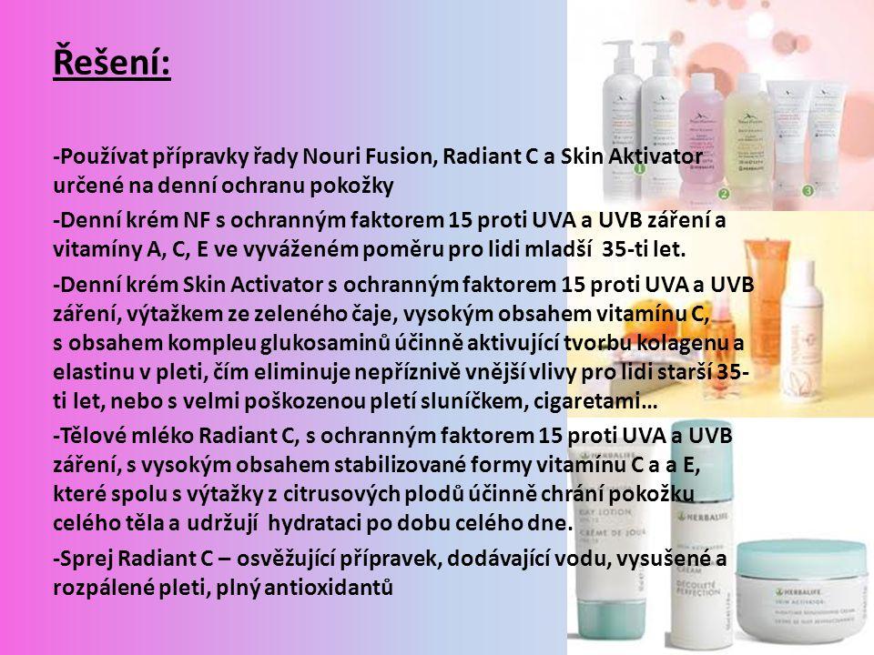 Řešení: -Používat přípravky řady Nouri Fusion, Radiant C a Skin Aktivator určené na denní ochranu pokožky -Denní krém NF s ochranným faktorem 15 proti
