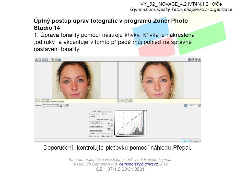 Úplný postup úprav fotografie v programu Zoner Photo Studio 14 1.