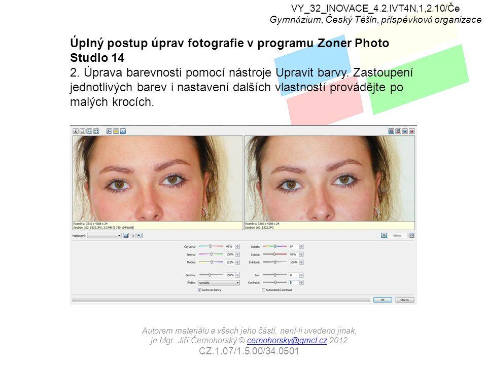 Úplný postup úprav fotografie v programu Zoner Photo Studio 14 2.