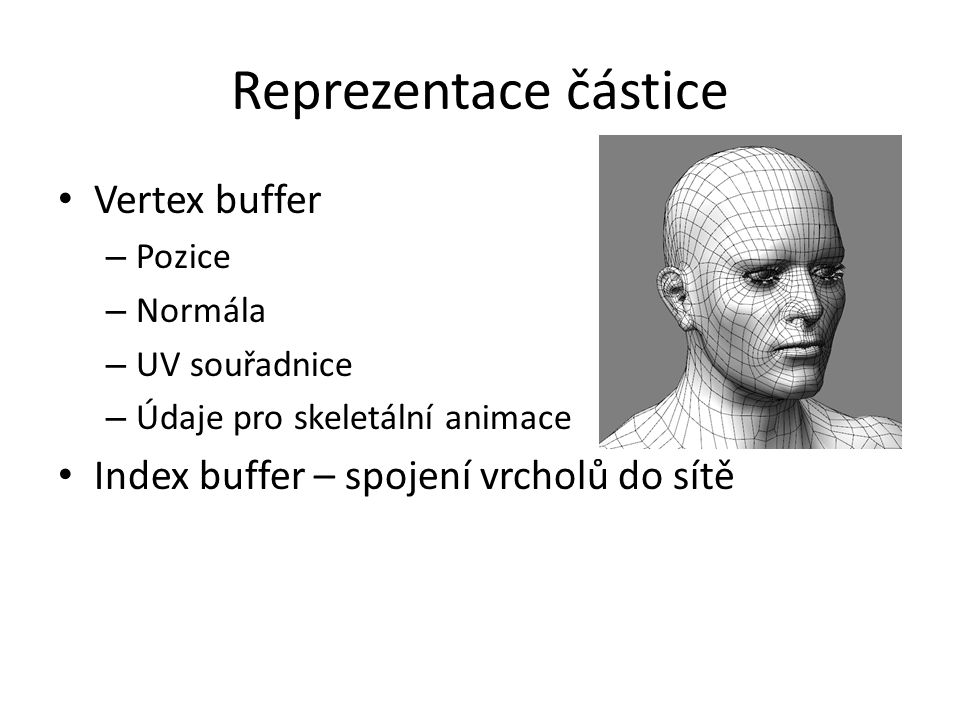 Reprezentace částice Vertex buffer – Pozice – Normála – UV souřadnice – Údaje pro skeletální animace Index buffer – spojení vrcholů do sítě