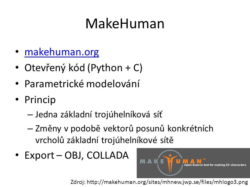 MakeHuman makehuman.org Otevřený kód (Python + C) Parametrické modelování Princip – Jedna základní trojúhelníková síť – Změny v podobě vektorů posunů
