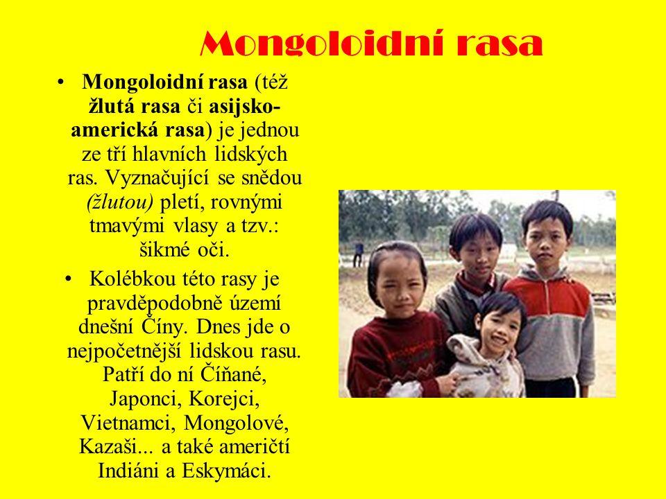 Mongoloidní rasa Mongoloidní rasa (též žlutá rasa či asijsko- americká rasa) je jednou ze tří hlavních lidských ras.