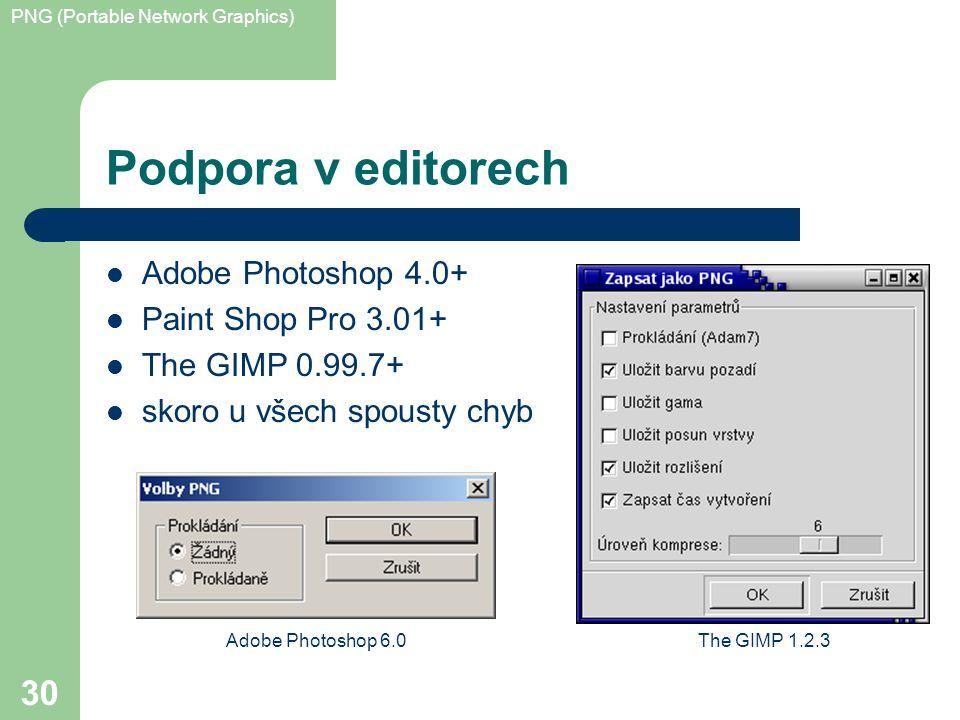 PNG (Portable Network Graphics) 30 Podpora v editorech Adobe Photoshop 4.0+ Paint Shop Pro 3.01+ The GIMP 0.99.7+ skoro u všech spousty chyb Adobe Photoshop 6.0The GIMP 1.2.3