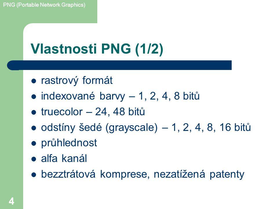 PNG (Portable Network Graphics) 4 Vlastnosti PNG (1/2) rastrový formát indexované barvy – 1, 2, 4, 8 bitů truecolor – 24, 48 bitů odstíny šedé (grayscale) – 1, 2, 4, 8, 16 bitů průhlednost alfa kanál bezztrátová komprese, nezatížená patenty