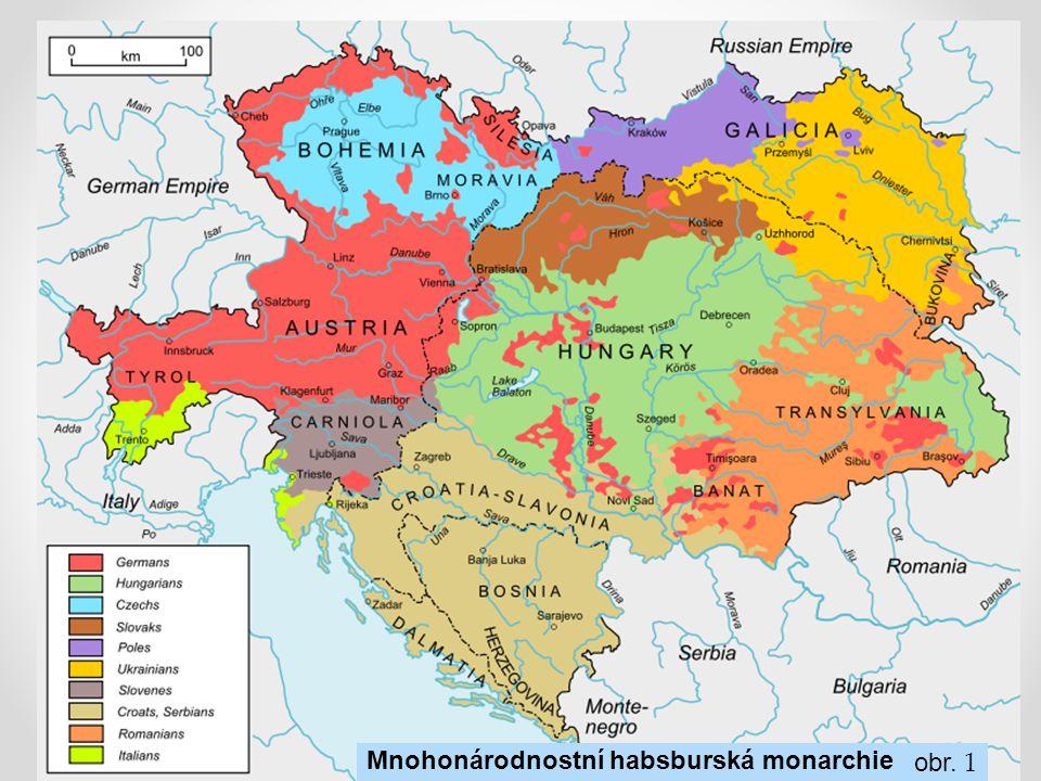 obr. 1 Mnohonárodnostní habsburská monarchie