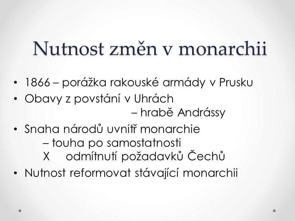 Dualistické uspořádání 1867 – dohoda s Maďary Říše rozdělena na 2 celky – hranicí je říčka Litava Předlitavsko: němčina, hl.