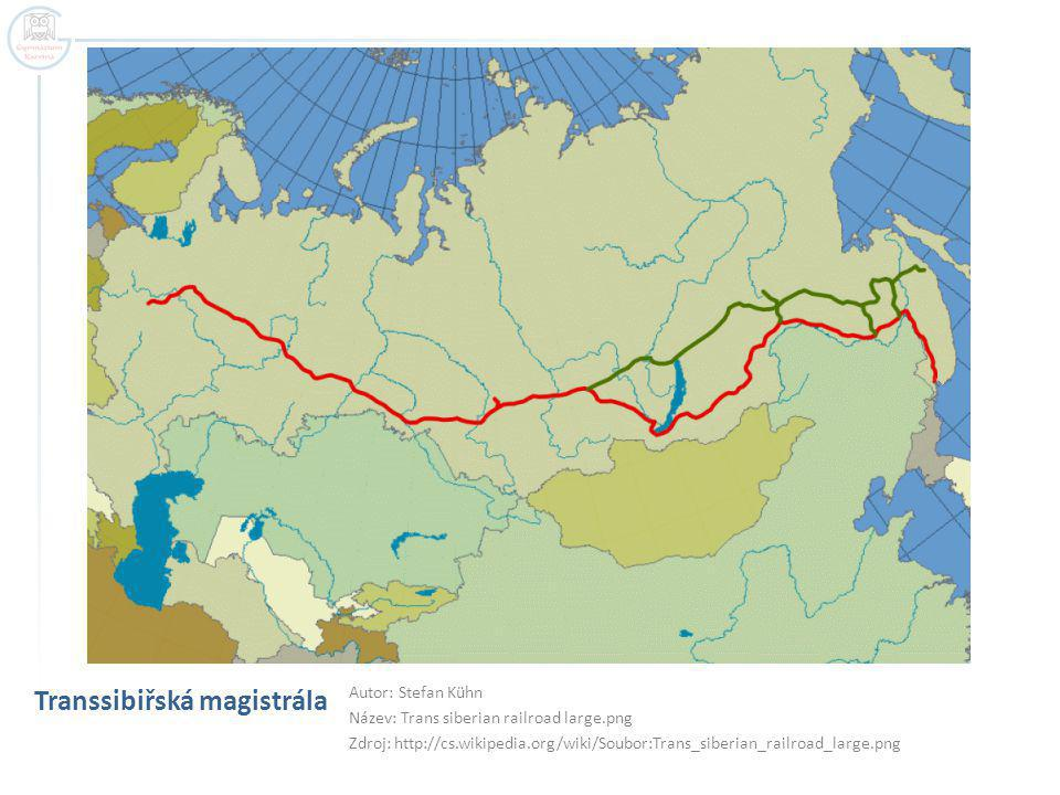 Transsibiřská magistrála Autor: Stefan Kühn Název: Trans siberian railroad large.png Zdroj: http://cs.wikipedia.org/wiki/Soubor:Trans_siberian_railroad_large.png