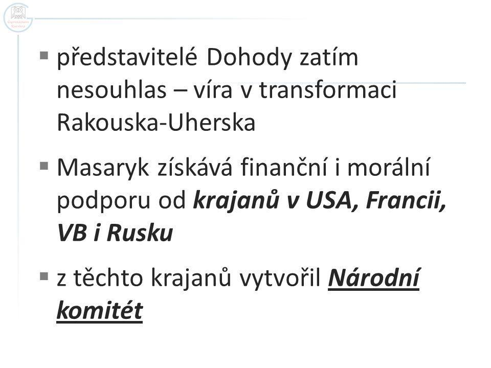  představitelé Dohody zatím nesouhlas – víra v transformaci Rakouska-Uherska  Masaryk získává finanční i morální podporu od krajanů v USA, Francii,