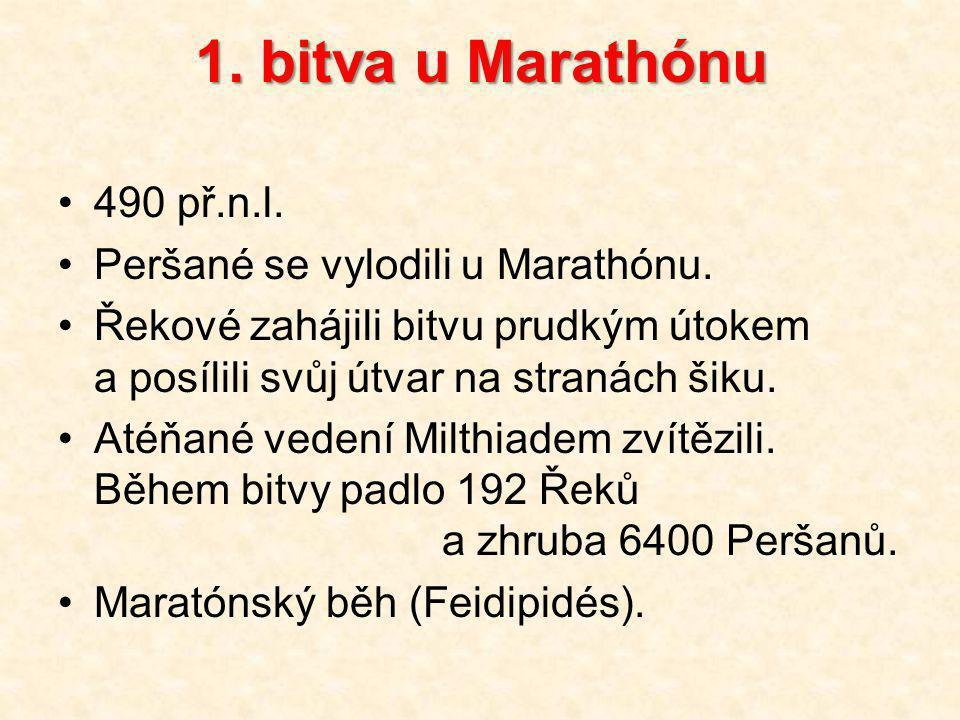 1.bitva u Marathónu 490 př.n.l. Peršané se vylodili u Marathónu.