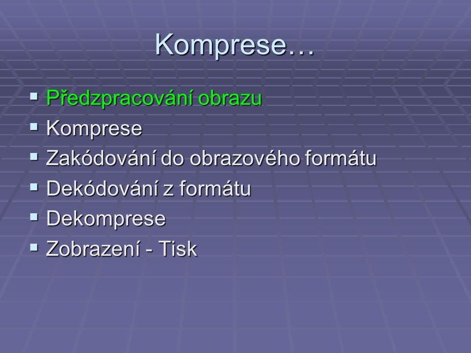 Komprese…  Předzpracování obrazu  Komprese  Zakódování do obrazového formátu  Dekódování z formátu  Dekomprese  Zobrazení - Tisk