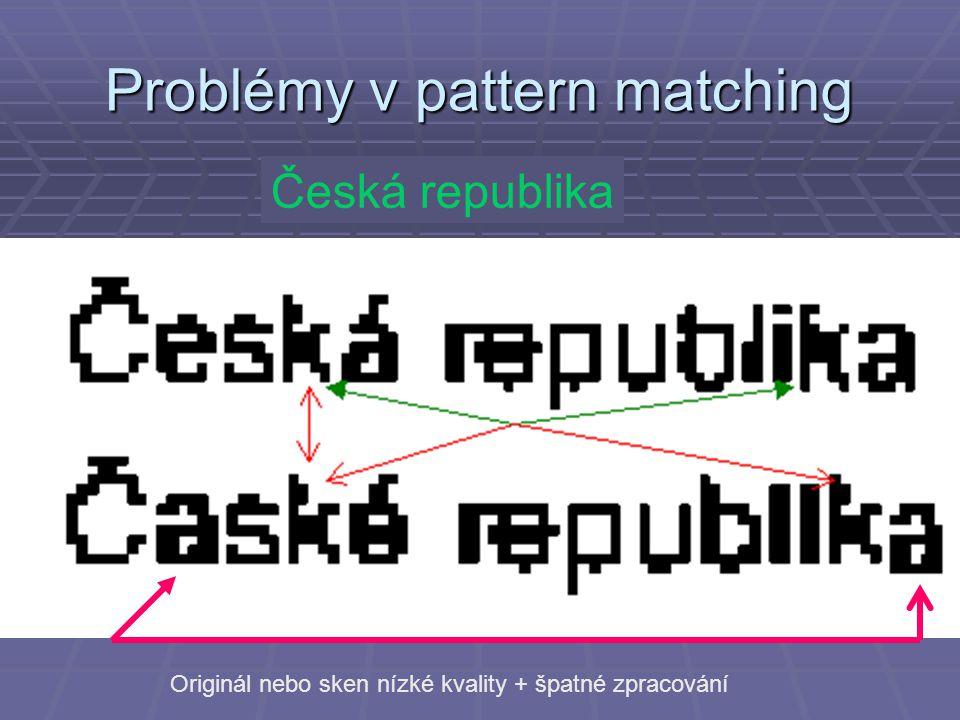 Problémy v pattern matching Česká republika Originál nebo sken nízké kvality + špatné zpracování
