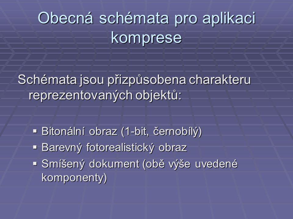 Obecná schémata pro aplikaci komprese Schémata jsou přizpůsobena charakteru reprezentovaných objektů:  Bitonální obraz (1-bit, černobílý)  Barevný fotorealistický obraz  Smíšený dokument (obě výše uvedené komponenty)