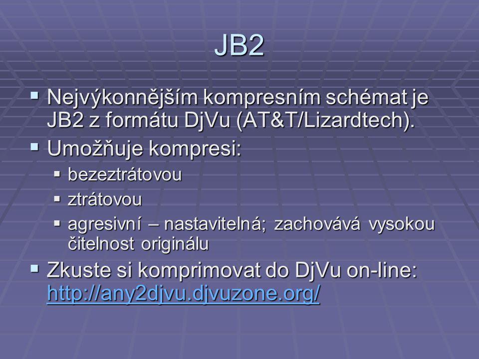 JB2  Nejvýkonnějším kompresním schémat je JB2 z formátu DjVu (AT&T/Lizardtech).