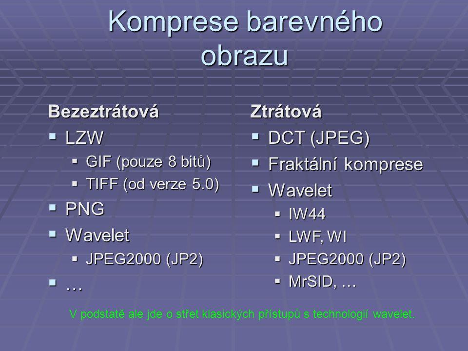 Komprese barevného obrazu Bezeztrátová  LZW  GIF (pouze 8 bitů)  TIFF (od verze 5.0)  PNG  Wavelet  JPEG2000 (JP2)  … Ztrátová  DCT (JPEG)  Fraktální komprese  Wavelet  IW44  LWF, WI  JPEG2000 (JP2)  MrSID, … V podstatě ale jde o střet klasických přístupů s technologií wavelet.