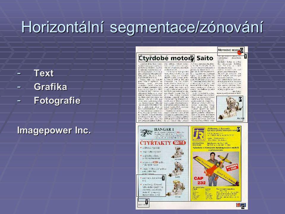 Horizontální segmentace/zónování - Text - Grafika - Fotografie Imagepower Inc.