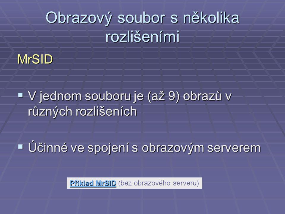 Obrazový soubor s několika rozlišeními MrSID  V jednom souboru je (až 9) obrazů v různých rozlišeních  Účinné ve spojení s obrazovým serverem Příklad MrSID Příklad MrSIDPříklad MrSID Příklad MrSID (bez obrazového serveru)